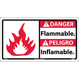 Bilingual Plastic Sign - Danger Flammable