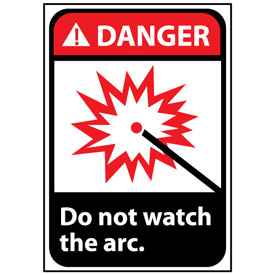 Danger Sign 14x10 Rigid Plastic - Do Not Watch The Arc