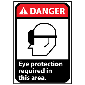 Danger Sign 14x10 Aluminum - Eye Protection Required In This Area