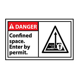 Graphic Machine Labels - Danger Confined Space Enter By Permit