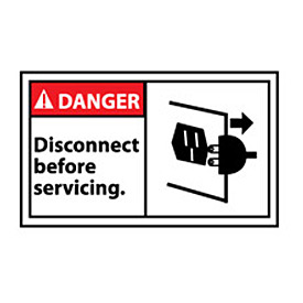 Graphic Machine Labels - Danger Disconnect Before Servicing