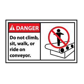 Graphic Machine Labels - Danger Do Not Climb, Sit, Walk Or Ride On Conveyor