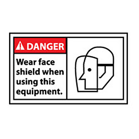 Graphic Machine Labels - Danger Wear Face Shield When Using This Equipment