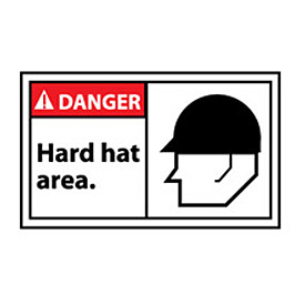 Graphic Machine Labels - Danger Hard Hat Area