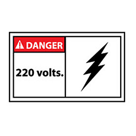 Graphic Machine Labels - Danger 220 Volts