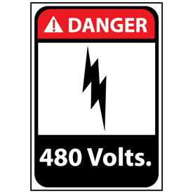 Danger Sign 14x10 Vinyl - 480 Volts