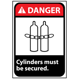 Danger Sign 14x10 Rigid Plastic - Cylinders Must Be Secured