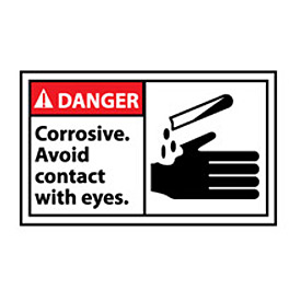 Graphic Machine Labels - Danger Corrosive Avoid Contact With Eyes