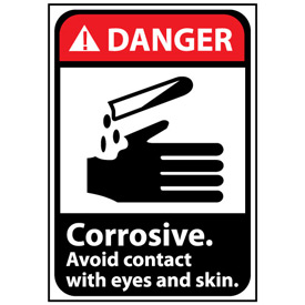 Danger Sign 14x10 Rigid Plastic - Corrosive Avoid Contact