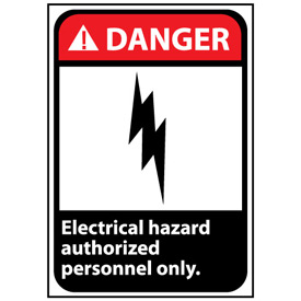 Danger Sign 14x10 Vinyl - Electrical Hazard Authorized Personnel Only