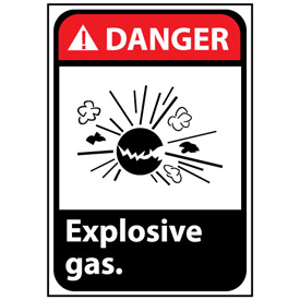 Danger Sign 14x10 Rigid Plastic - Explosive Gas