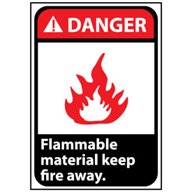 Danger Sign 14x10 Aluminum - Flammable Material Keep Fire Away