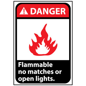 Danger Sign 14x10 Aluminum - Flammable No Matches Or Open Lights