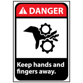 Danger Sign 14x10 Vinyl - Keep Hands and Fingers Away