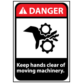 Danger Sign 14x10 Vinyl - Keep Hands Clear Of Moving Machinery