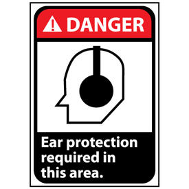 Danger Sign 14x10 Rigid Plastic - Ear Protection Required