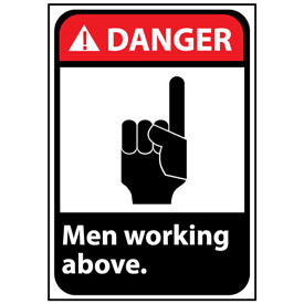 Danger Sign 14x10 Vinyl - Men Working Above