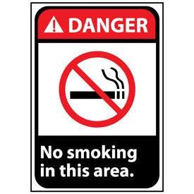 Danger Sign 14x10 Rigid Plastic - No Smoking In This Area