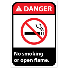 Danger Sign 14x10 Vinyl - No Smoking Or Open Flame