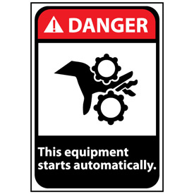 Danger Sign 14x10 Rigid Plastic - Equipment Starts Automatically