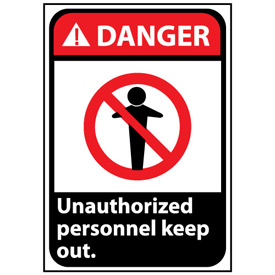 Danger Sign 14x10 Vinyl - Unauthorized Personnel Keep Out