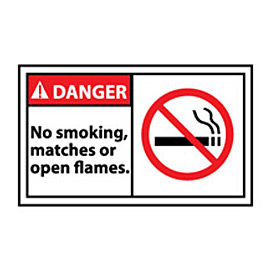 Graphic Machine Labels - Danger No Smoking, Matches Or Open Flames