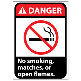Danger Sign 14x10 Vinyl - No Smoking, Matches Or Open Flames