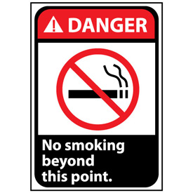 Danger Sign 14x10 Vinyl - No Smoking Beyond This Point