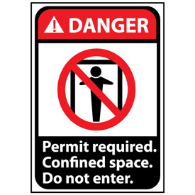 Danger Sign 10x7 Vinyl - Permit Required Do Not Enter