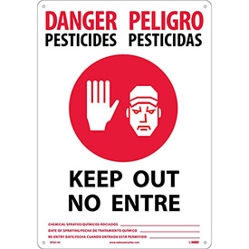 Bilingual Vinyl Sign - Danger Pesticides Keep Out