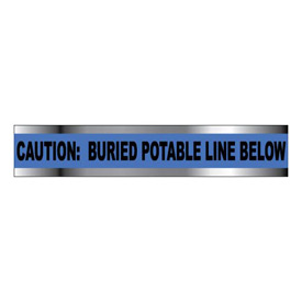 "Detectable Underground Warning Tape - Caution Buried Potable Line Below - 3""W"