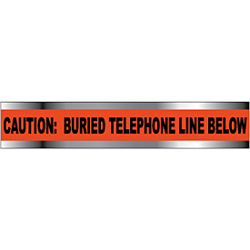 "Detectable Underground Warning Tape - Caution Buried Telephone Line Below - 3""W"