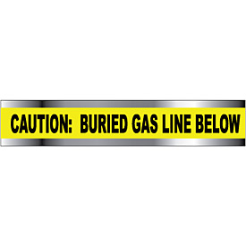 "Detectable Underground Warning Tape - Caution Buried Gas Line Below - 3""W"