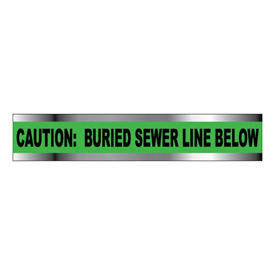 "Detectable Underground Warning Tape - Caution Buried Sewer Line Below - 6""W"