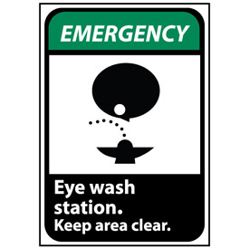 Emergency Sign 14x10 Aluminum - Eye Wash Station Keep Area Clear