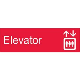 Engraved Sign - Elevator - Red