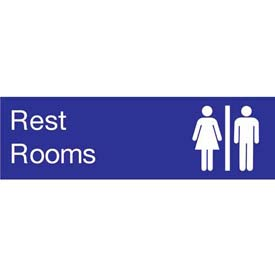 Engraved Sign - Rest Rooms - Blue