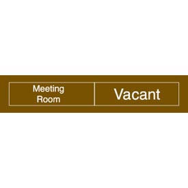 Engraved Occupancy Sign - Meeting Room In Use Vacant - Brown