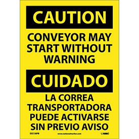 Bilingual Vinyl Sign - Caution Conveyor May Start Without Warning