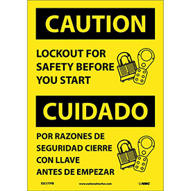Bilingual Vinyl Sign - Caution Lockout For Safety Before You Start