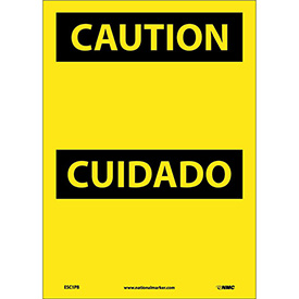 Bilingual Vinyl Sign - Caution Blank