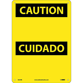 Bilingual Plastic Sign - Caution Blank