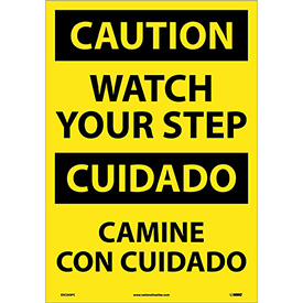 Bilingual Vinyl Sign - Caution Watch Your Step