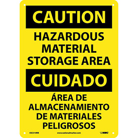 Bilingual Plastic Sign - Caution Hazardous Material Storage Area