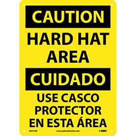 Bilingual Aluminum Sign - Caution Hard Hat Area