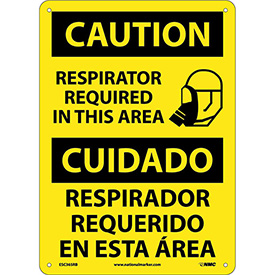 Bilingual Plastic Sign - Caution Respirator Required In This Area