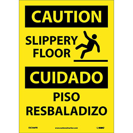 Bilingual Vinyl Sign - Caution Slippery Floor
