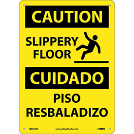 Bilingual Plastic Sign - Caution Slippery Floor