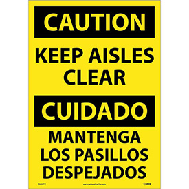 Bilingual Vinyl Sign - Caution Keep Aisles Clear