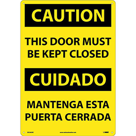 Bilingual Plastic Sign - Caution This Door Must Be Kept Closed